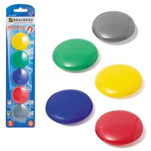 Магниты для досок D 40 мм, 5 шт, цвет АССОРТИ