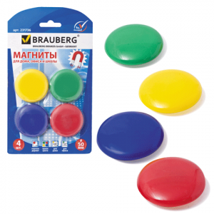 Магниты для досок D 50 мм, 4 шт, цвет АССОРТИ