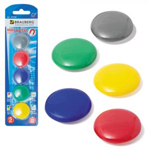 Магниты для досок D 30 мм, 5 шт, цвет АССОРТИ