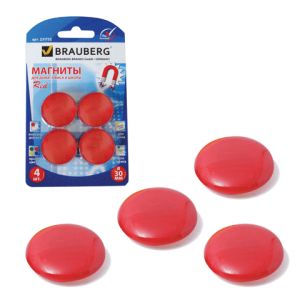 Магниты для досок D 30 мм, 4 шт., Красные