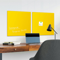 Доска стеклянная желтая магнитно-маркерная Brauberg, 45х45 см